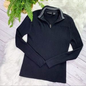 DKNY Black Ribbed Zip Front Collared Sweater Sz S